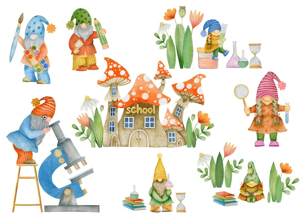 Watercolor illustration set of gnomes at school isolated on white background