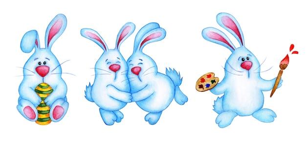 귀여운 파란색 부활절 토끼의 수채화 그림 집합입니다. 달걀이있는 토끼, 포옹하는 토끼, 팔레트가있는 토끼. 부활절, 종교, 전통. 흰색 배경에 고립. 손으로 그린.