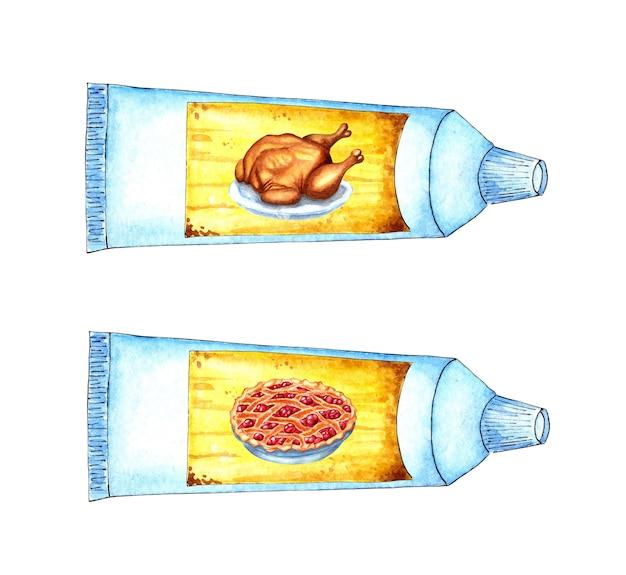 Набор акварельных иллюстраций еды для космонавтов в тюбиках из индейки и пирога. простая белая трубка с желтой этикеткой и изображениями еды на ней.
