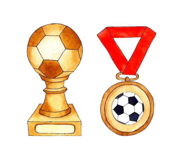Набор акварельных иллюстраций кубка и медали футбольных наград на красной ленте.