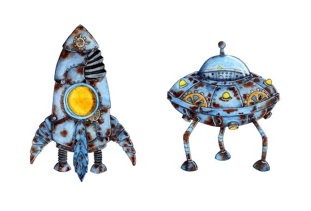 Набор акварельных иллюстраций ракеты космической техники и летающей тарелки. жирный старый космический корабль. апокалипсис. рисование для детей. изолированные на белом фоне. нарисовано от руки.