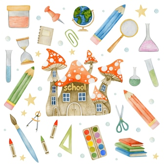 Watercolor illustration set of school supplies isolated on white background Premium Photo