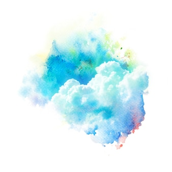 Watercolor illustration of sky with cloud.