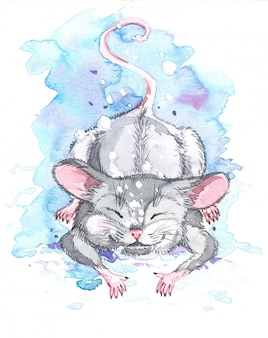 Watercolor illustration of snow falls on the mouse.