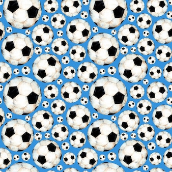 Watercolor illustration of a soccer ball pattern sports symbol seamless repeating print