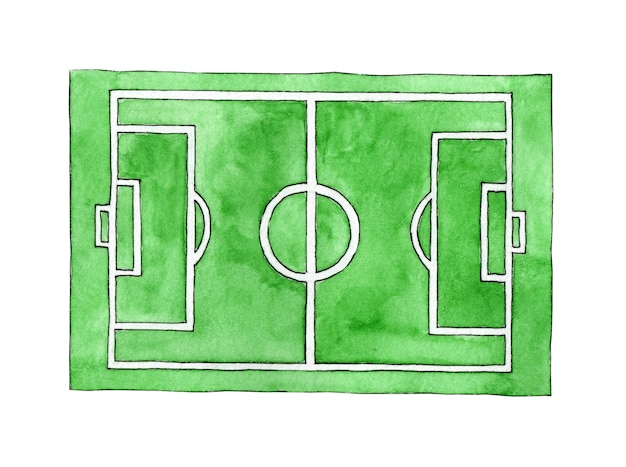Watercolor illustration of a soccer field sketch green grass stadium green texture with stripes