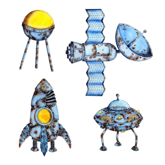 Watercolor illustration of space technology. old rusty spacecraft rocket, satellite, ufo, flying saucer. apocalypse. isolated on white background. drawn by hand.