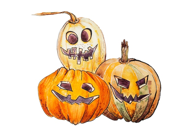 Watercolor illustration of three pumpkins with painted faces isolated on white background