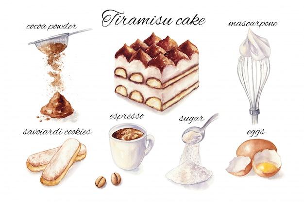 Watercolor illustration of tiramisu cake. cooking ingredient