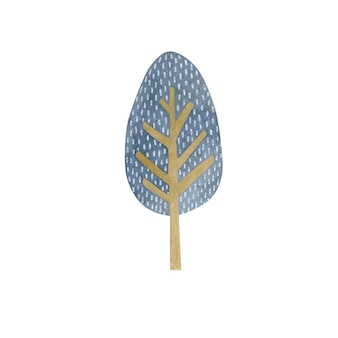 Watercolor illustration of a tree isolated on white background