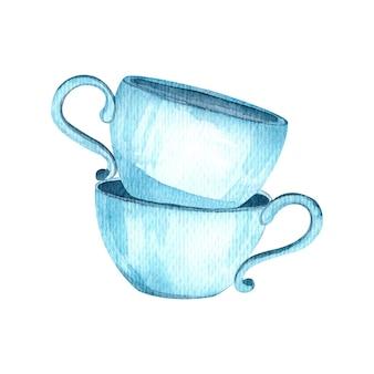 수채화 그림 두 개의 파란색 차 컵 주방 용품 격리 된 요소