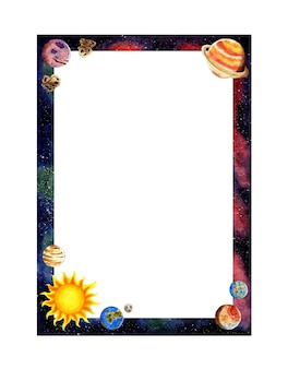 Watercolor illustration vertical space frame with planets, sun, earth, moon, mars, mercury, pluto, saturn, meteors. baby frame with blank insert space. isolated on white background. drawn by hand.