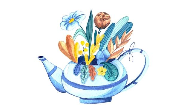 青いティーポットと夏の花の分離要素と水彩イラスト
