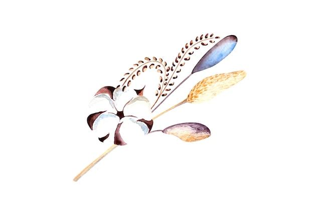 잎사귀와 면화 꽃이 있는 수채화 그림 가을에는 흰색 배경에 고립된 요소가 남습니다