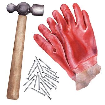 修理のためのさまざまなツールと水彩イラスト
