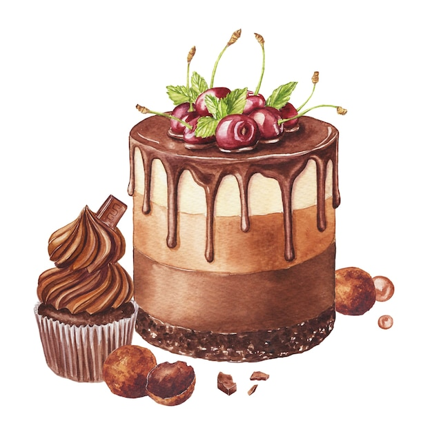 Watercolor illustration with chocolate cake, cupcake and candies isolated on a white