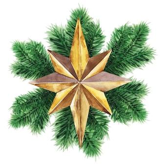 クリスマスのトウヒの枝と星の水彩イラスト