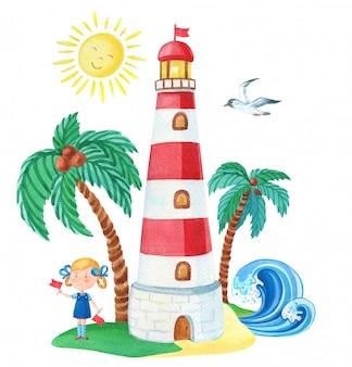 灯台とヤシの木の近くの女の子と水彩イラスト