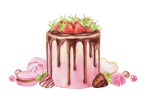 Watercolor illustration with strawberry cake, macaron, chocolate and candies isolated on a white