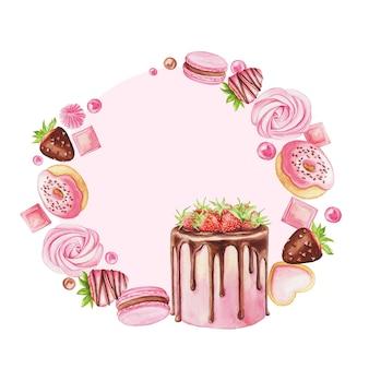 ストロベリーケーキ、マカロン、ドーナツ、チョコレート、キャンディーを白で隔離の水彩イラスト。甘い花輪