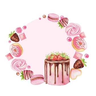Watercolor illustration with strawberry cake, macaron, donut, chocolate and candies isolated on a white. sweet wreath