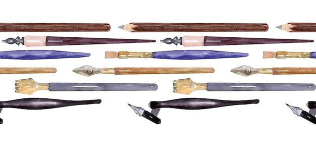 Акварельные иллюстрации с различными объектами каллиграфии