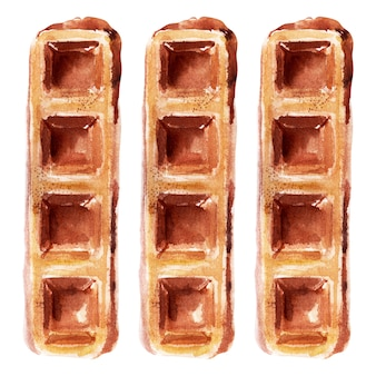 Watercolor illustration with wafers of various shapes. heart waffles, square waffles, and round waffles