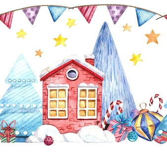 Watercolor illustration with a winter house, sweets, gifts, christmas tree toys on a white background