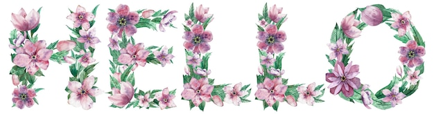 Watercolor illustration of word hello made of pink spring flowers