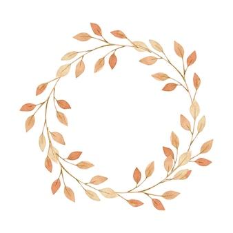 水彩イラスト。紅葉の花輪。こんにちは秋!
