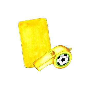 Watercolor illustration of yellow card and whistle for sports design sports equipment