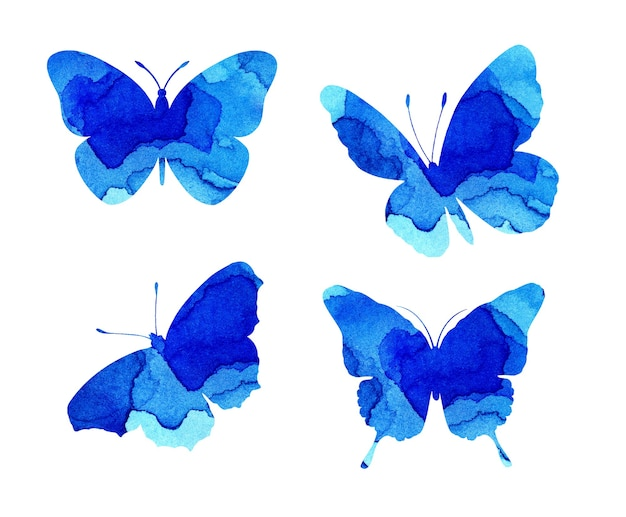 Watercolor illustrations of beautiful blue silhouettes of butterflies. insect traps. watercolor blots, butterflies. isolated on white. hand drawn