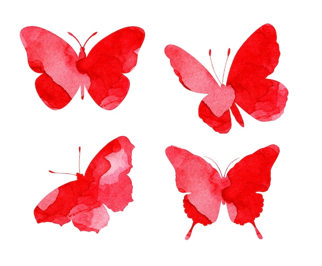 Watercolor illustrations of beautiful red silhouettes of butterflies. insect traps. watercolor blots, butterflies. isolated on white. drawn by hand.