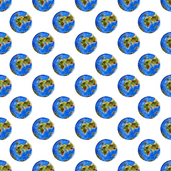 Watercolor illustrations of celestial bodies blue planet earth pattern seamless repeating background
