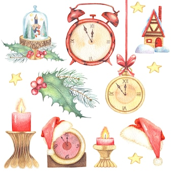 Watercolor illustrations clip art christmas set with vintage clocks in gold.