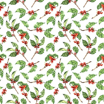 수채화 그림 커피 나무 가지 잎 콩 원활한 반복 패턴