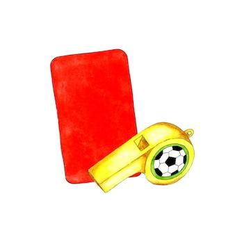 스포츠 디자인을 위한 레드 카드와 휘파람의 수채화 삽화 심판용 스포츠 장비