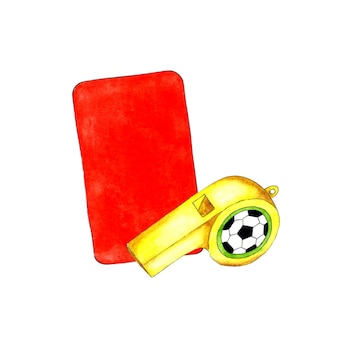 Watercolor illustrations of red card and whistle for sports design sports equipment for judging