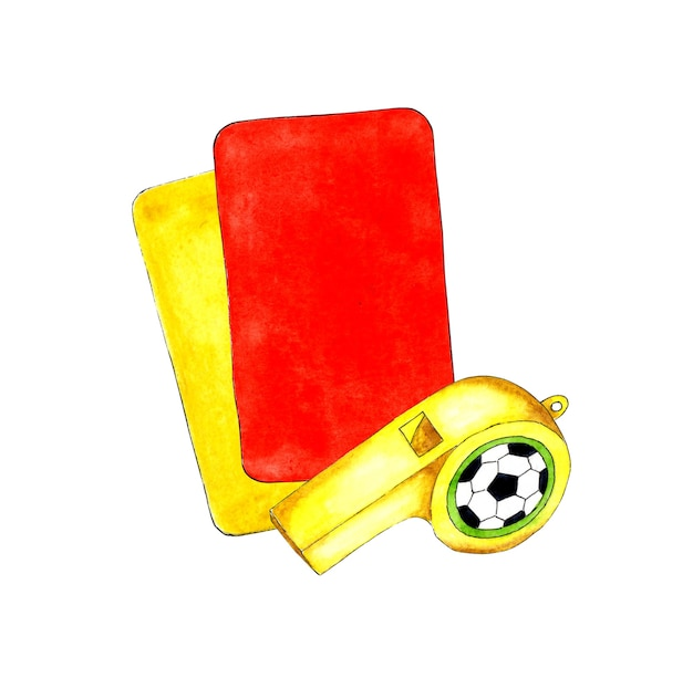 Watercolor illustrations of yellow and red soccer cards and whistle for sports design