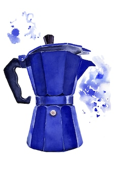 Watercolor image of a blue geyser coffee maker