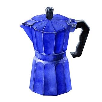 Акварельное изображение кофеварки синий гейзер