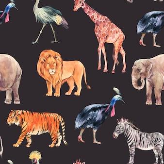 水彩のジャングル、サファリ動物の夏のシームレスなパターン。水彩キリン、象。黒の背景に分離されたシマウマとトラのイラスト