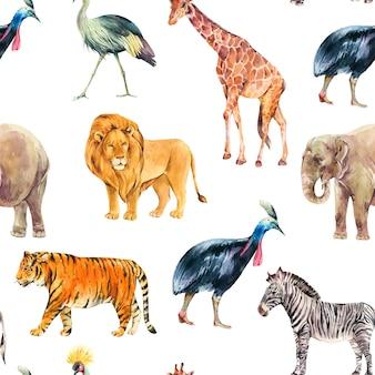 水彩のジャングル、サファリ動物の夏のシームレスなパターン。水彩キリン、象。白い背景で隔離のシマウマとトラのイラスト