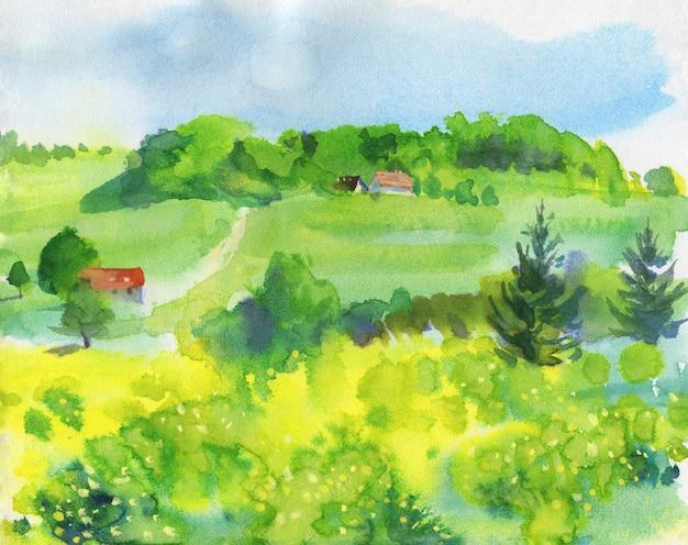 Акварельный пейзаж, сельская местность.