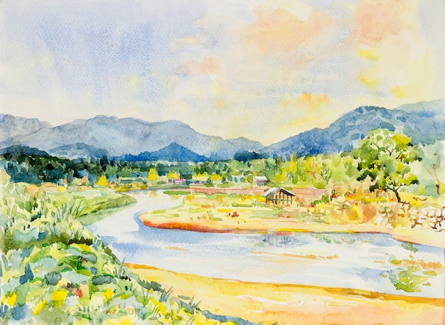 Watercolor landscape original painting colorful of home with river and mountain forest.