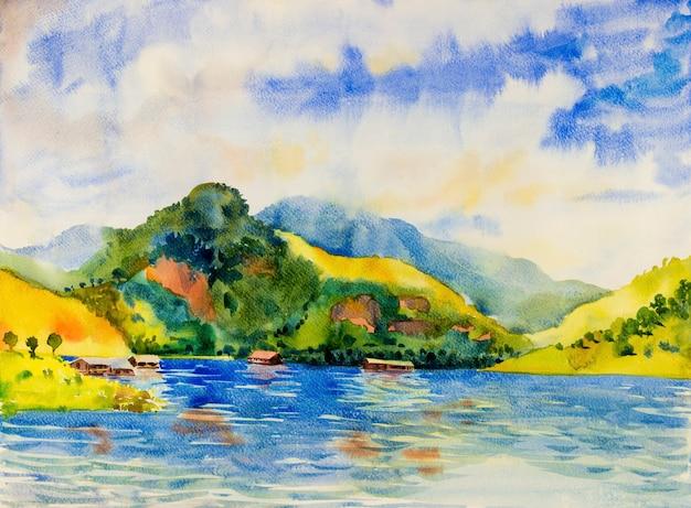 ポンツーンコテージと川のカラフルな水彩画の風景原画
