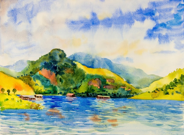 Watercolor landscape original painting colorful of pontoon cottage and river