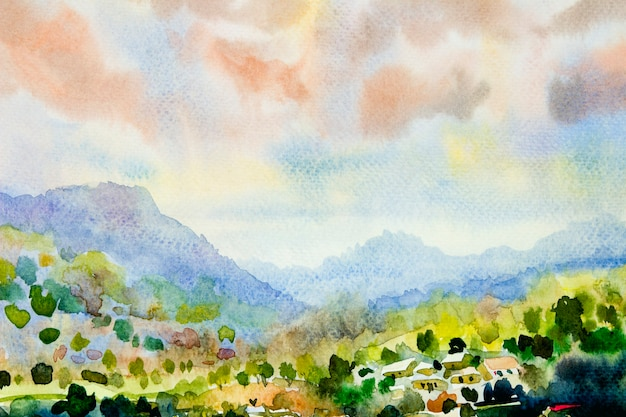 Watercolor landscape painting colorful of mountain