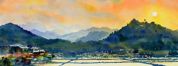 파노라마 전망과 감정 농촌 사회에서 마을, 산, 초원의 다채로운 수채화 풍경화, 하늘 배경에서 자연 봄. 아시아에서 손으로 그린 반 추상 삽화.