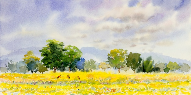 Watercolor landscape painting of colorful trees and farm forest.